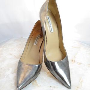 Diane Von Furstenberg Metallic Silver Heels Pumps
